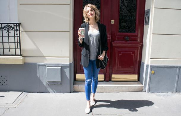 violette daily blogger jacket jeans top shoes bag