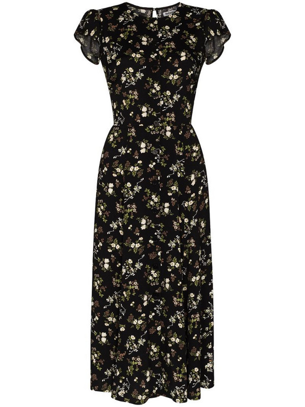 Reformation Fauna floral print midi dress in black