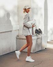 jacket,blazer,white sneakers,white shorts,chanel bag,cap