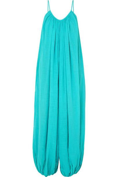 Kalita - Balloon Cotton-gauze Jumpsuit - Turquoise
