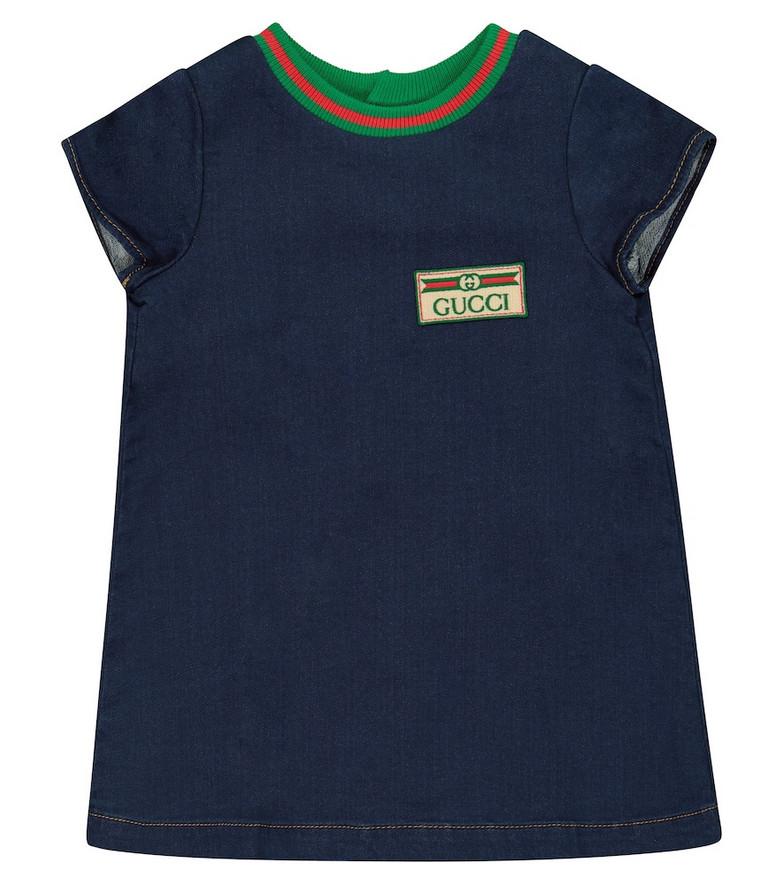 Gucci Kids Baby cotton-blend denim dress in blue