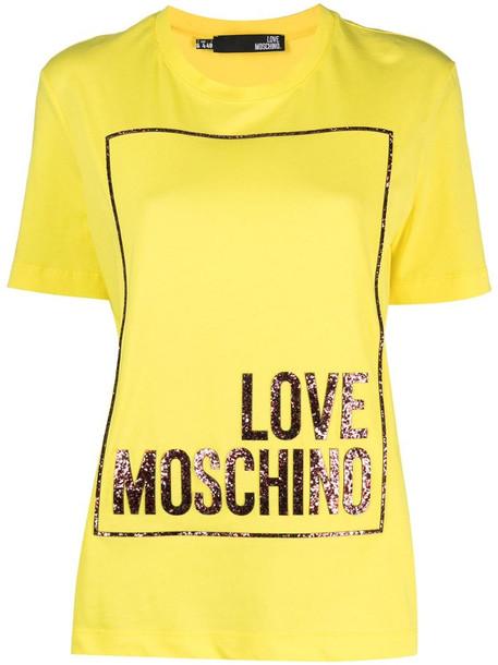 Love Moschino logo-print T-shirt in yellow