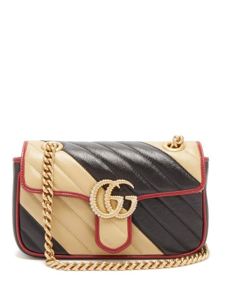 Gucci - Gg Marmont Two Tone Leather Cross Body Bag - Womens - Black White