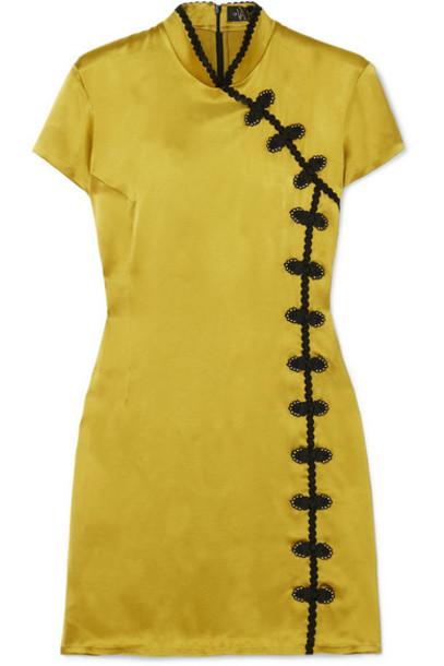 De La Vali - Suki Appliquéd Satin Mini Dress - Chartreuse