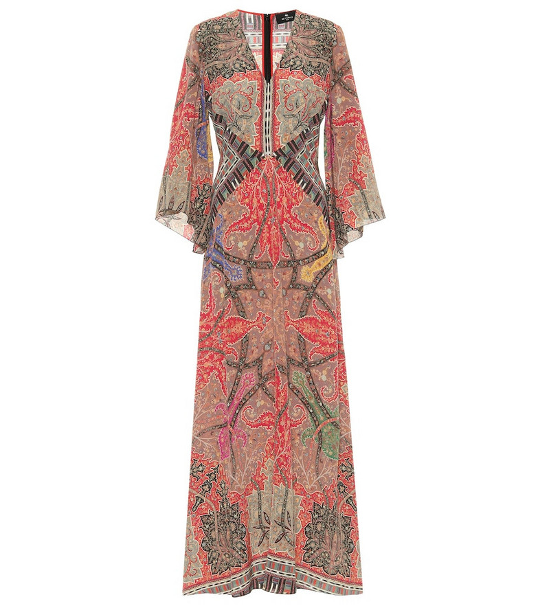 Etro Printed silk georgette gown in red