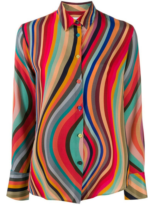 PS Paul Smith striped silk shirt in red