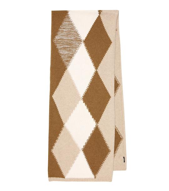 Joseph Argyle merino wool scarf in brown