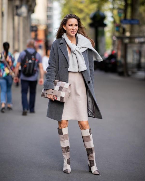 coat grey coat knee high boots mini skirt sweater bag