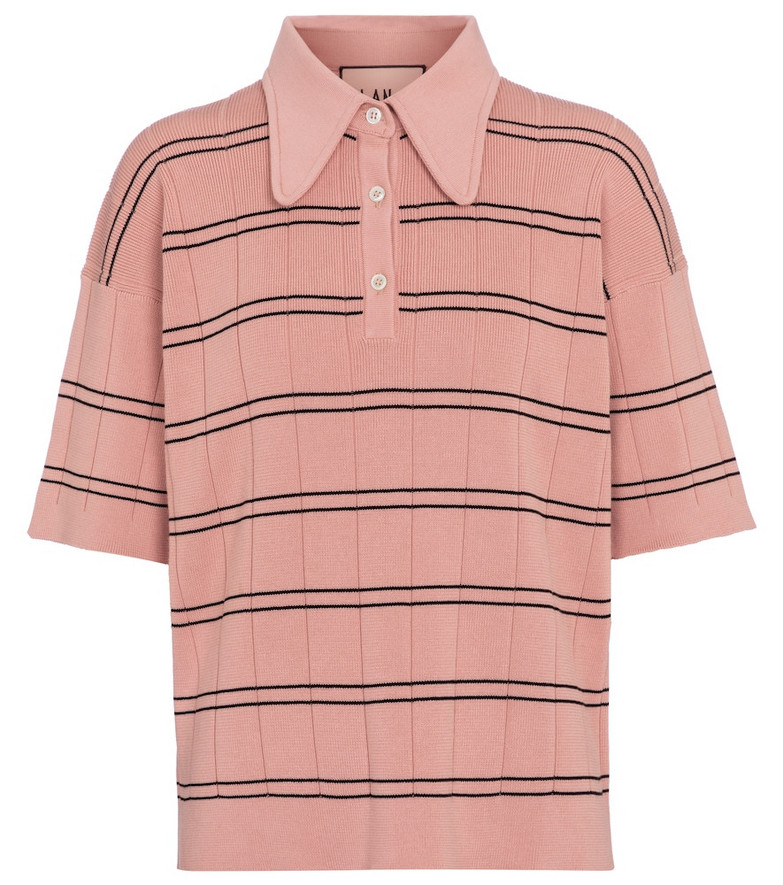 Plan C Striped cotton polo top in pink