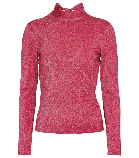 Gucci Lamé mock neck sweater in pink