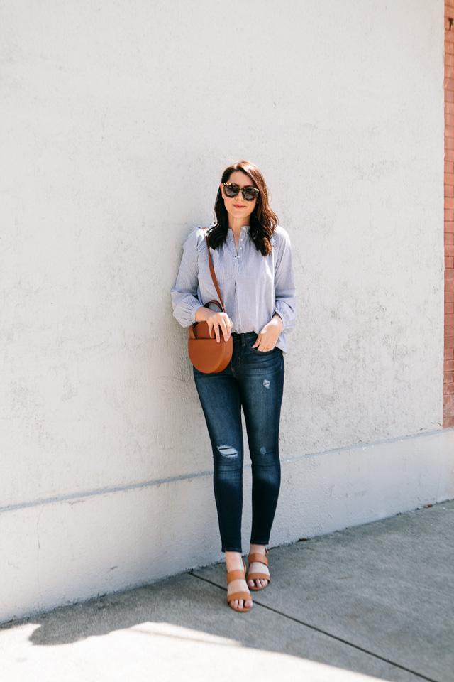 kendi everyday blogger top jeans dress shoes shoulder bag sandals blue shirt