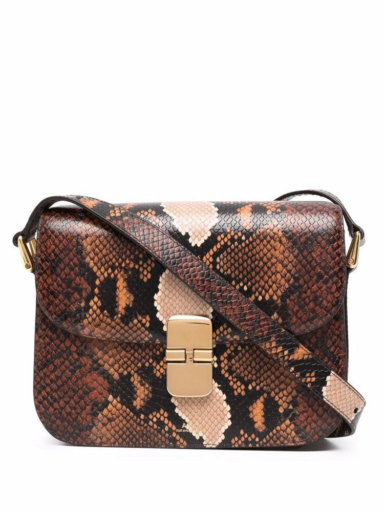 A.P.C. A.P.C. snakeskin-print shoulder bag - Brown