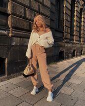 pants,cargo pants,white cardigan,white sneakers,chanel bag