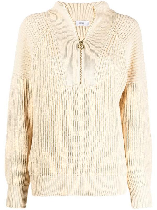 Closed short zip ribbed knit jumper in neutrals