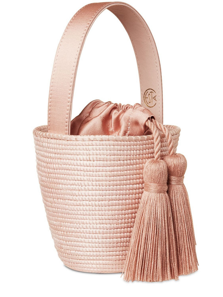 CESTA COLLECTIVE Party Pail Cotton Canvas Top Handle Bag in pink
