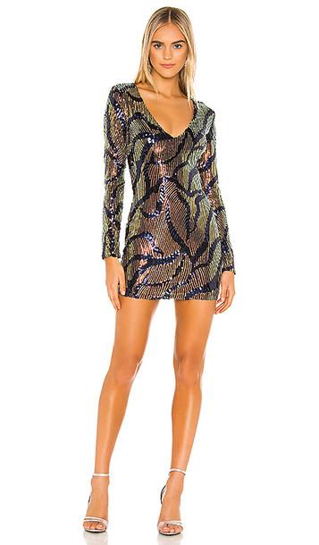 superdown Rhonda Long Sleeve Dress in Metallic Gold