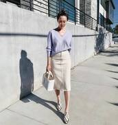 sweater,knitted sweater,v neck,mules,snake skin,handbag,white bag,midi skirt,denim skirt