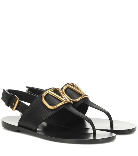 Valentino Garavani VLOGO leather sandals in black