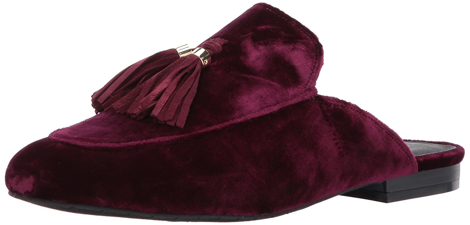 Amazon.com | Kenneth Cole New York Women's Whinnie Slip Tassels Velvet Mule, Wine, 9.5 M US | Mules & Clogs