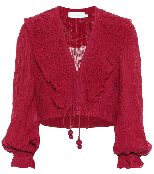 Zimmermann Suraya ramie and cotton top in red