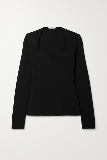 BALENCIAGA - Ribbed Stretch-knit Top - Black