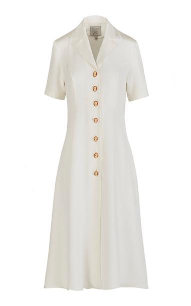 Giuliva Heritage Collection Giulia Buttoned Silk Midi Dress in white