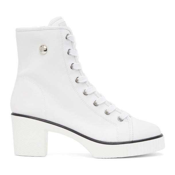 Giuseppe Zanotti White Kana Heeled Boots in bianco