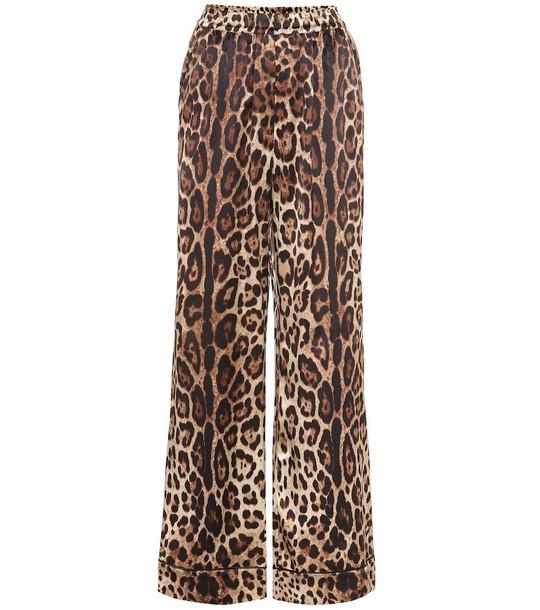 Dolce & Gabbana Leopard-print stretch-silk pants in beige