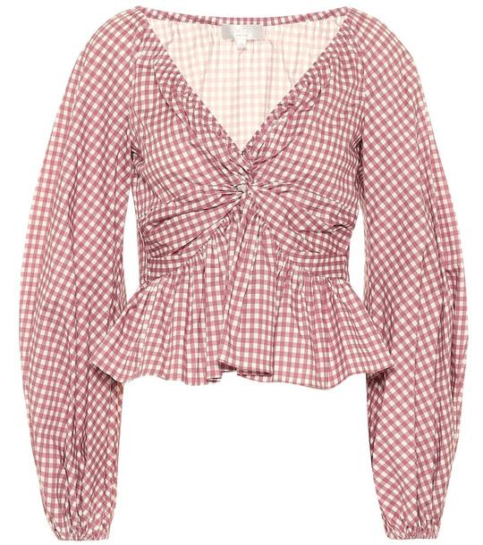 Caroline Constas Onira gingham cotton top in pink