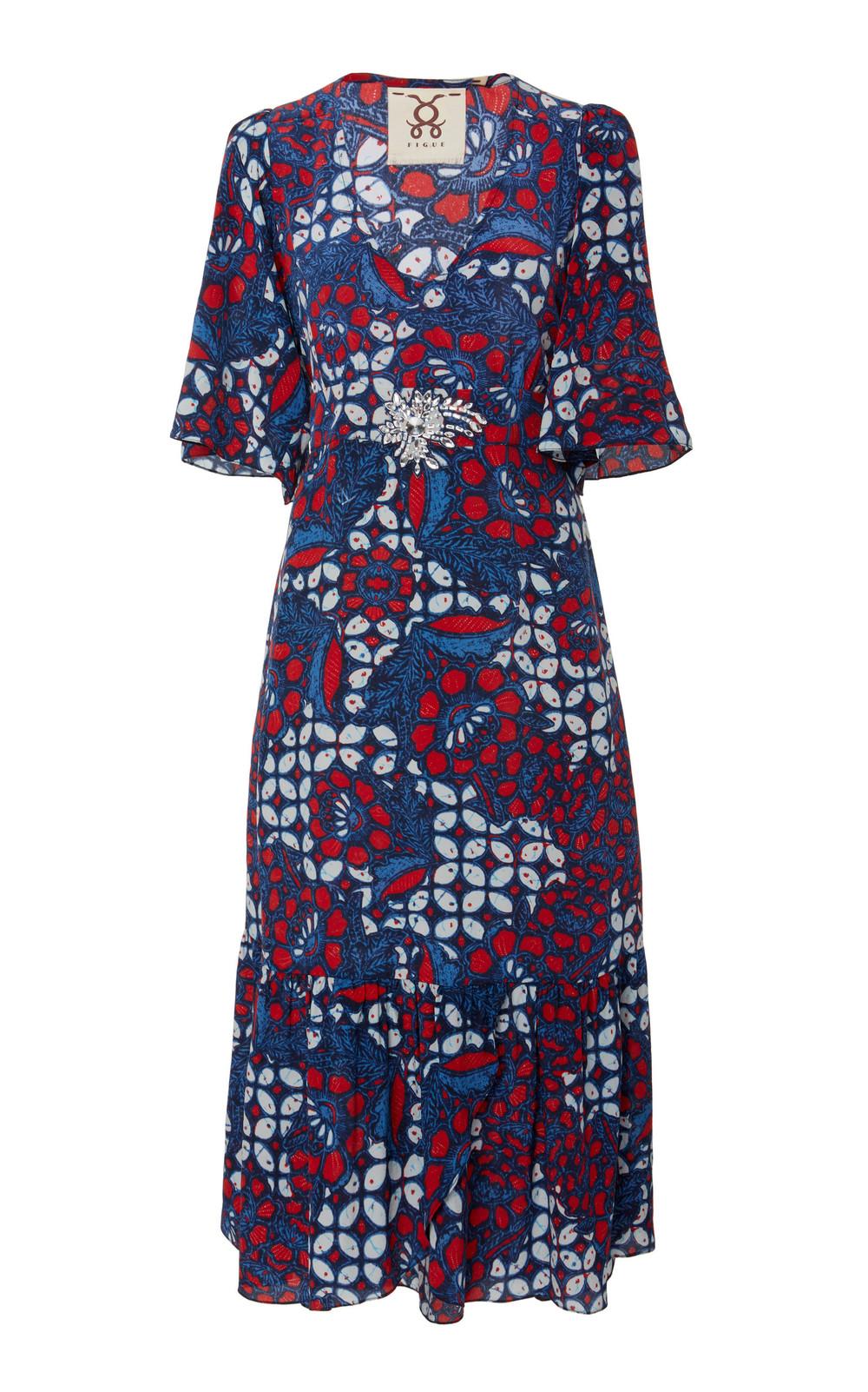 Figue Nadine Belted Printed Silk-Crepe Midi Dress in multi