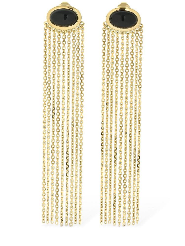 AURELIE BIDERMANN Bronx Clip-on Onyx Earrings in black / gold