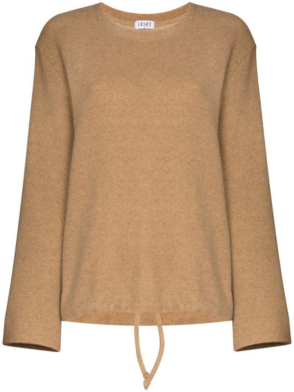 LESET drawstring hem knitted sweatshirt in brown