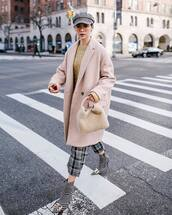 coat,oversized coat,isabel marant,wool coat,plaid,ankle boots,balenciaga,checkered pants,cable knit,sweater,furry bag,beret