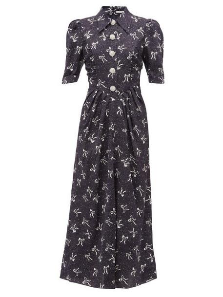 Alessandra Rich - Polka Dot And Bow Print Silk Dress - Womens - Navy Multi