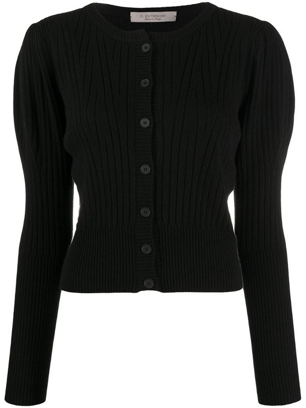 D.Exterior ribbed knit cardigan in black