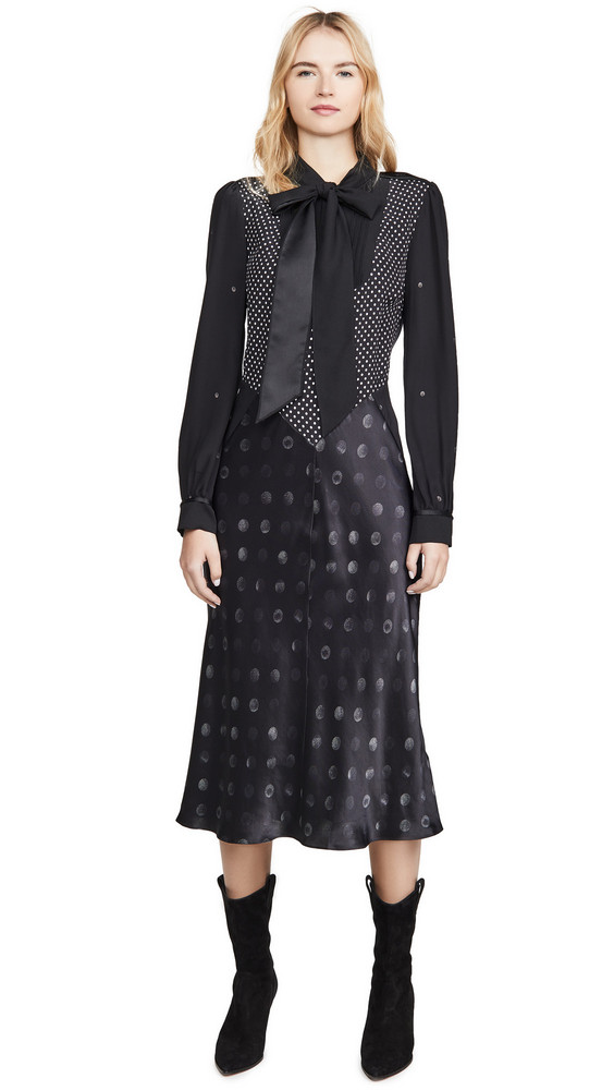 Coach 1941 Mixed Dot Bow Dress in black