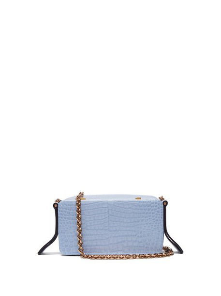 Lutz Morris - Elise Crocodile Effect Leather Shoulder Bag - Womens - Light Blue