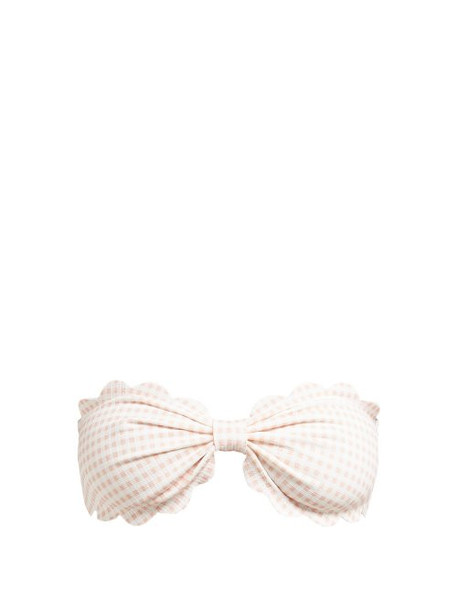 Marysia - Antibes Scallop Edge Gingham Bandeau Bikini Top - Womens - Light Pink