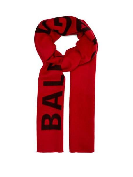 Balenciaga - Logo Intarsia Wool Scarf - Womens - Red