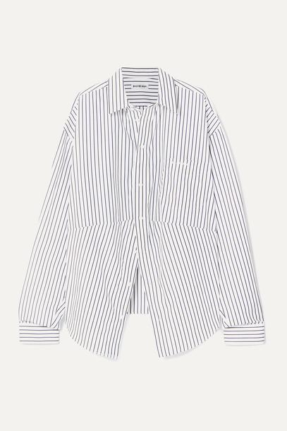 BALENCIAGA - Swing Oversized Embroidered Striped Cotton-poplin Shirt - Blue