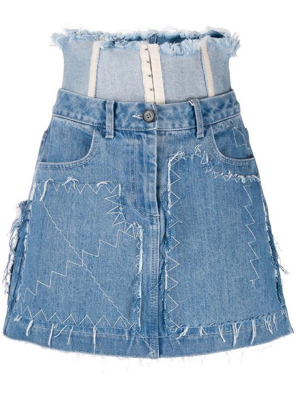 Ruban stitch detail skirt in blue