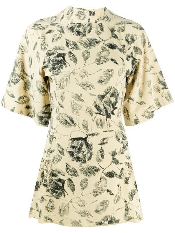 Charlotte Knowles floral sketch mini dress in yellow