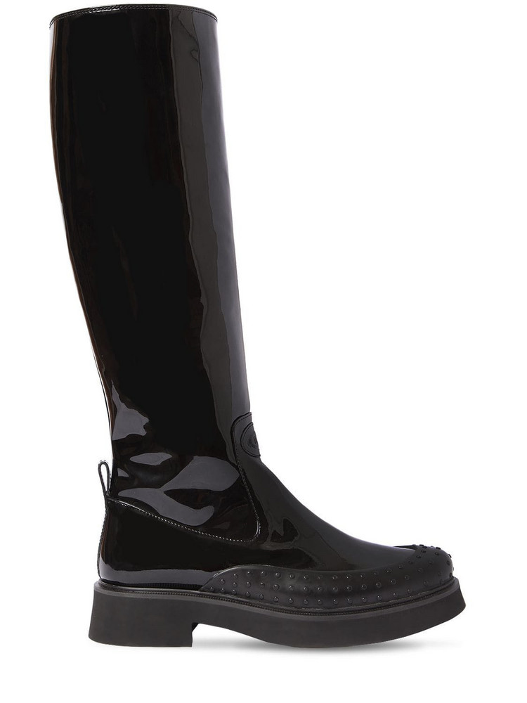 TOD'S 35mm Patent Leather Tall Boots in black