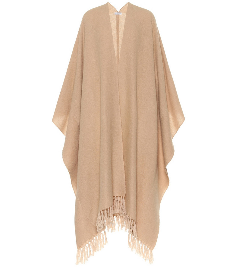 Brunello Cucinelli Cashmere and mohair-blend poncho in beige