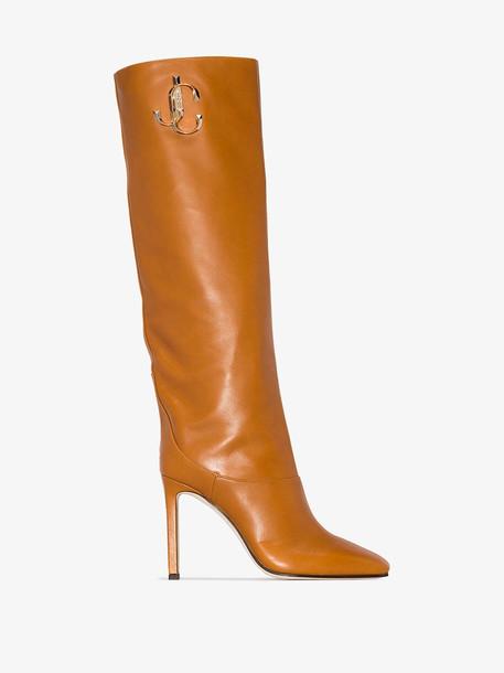 Jimmy Choo logo knee length boots in brown