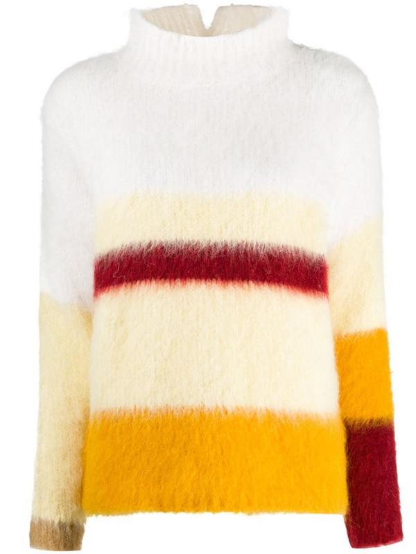 Erika Cavallini colour-block high neck jumper in white