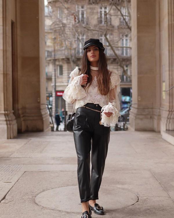 top white blouse lace top black leather pants mules beret black bag