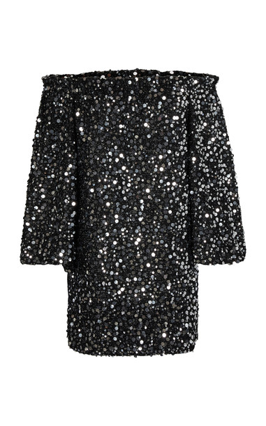 ROTATE Gloria Off-The-Shoulder Sequined Chiffon Mini Dress Size: XS in black