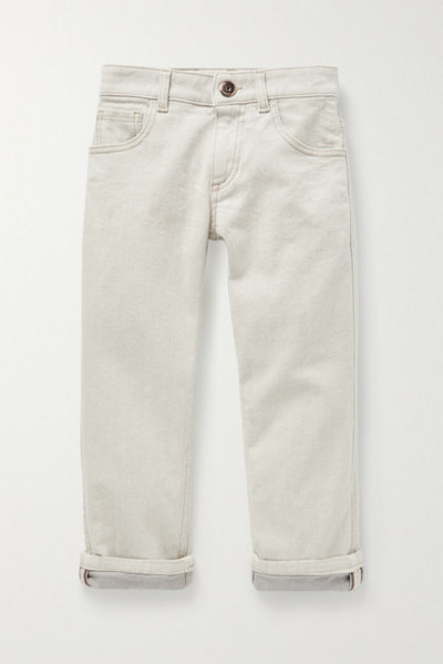Brunello Cucinelli Kids - Ages 4 - 6 Bead-embellished Jeans in gray