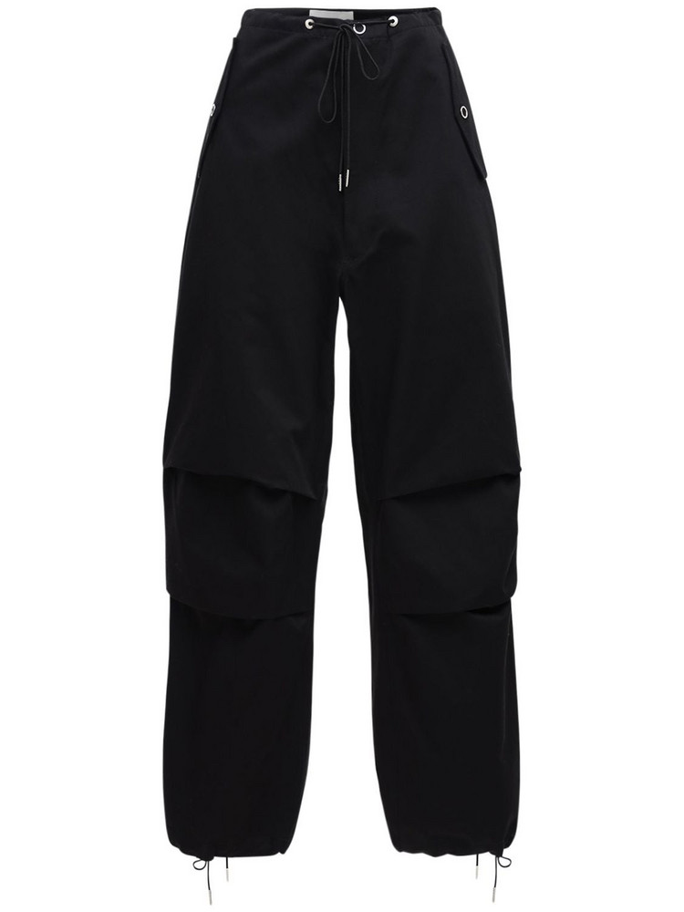 DION LEE Cotton Twill Parachute Cargo Pants in black